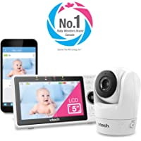 """VTech VM901-1W WiFi Video Baby Monitor with Free Live Remote Access, 108, White0p Full HD Camera, 5"""" Screen, Pan Tilt…"""
