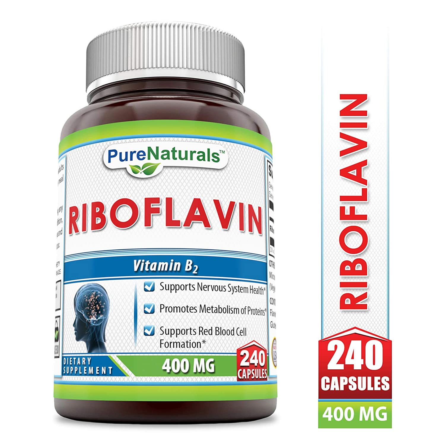 Pure Naturals Riboflavin 400 Mg, 240 Capsules -Supports Nervous System Health -Promotes Metabolism of Proteins -Supports Red Blood Cell Formation