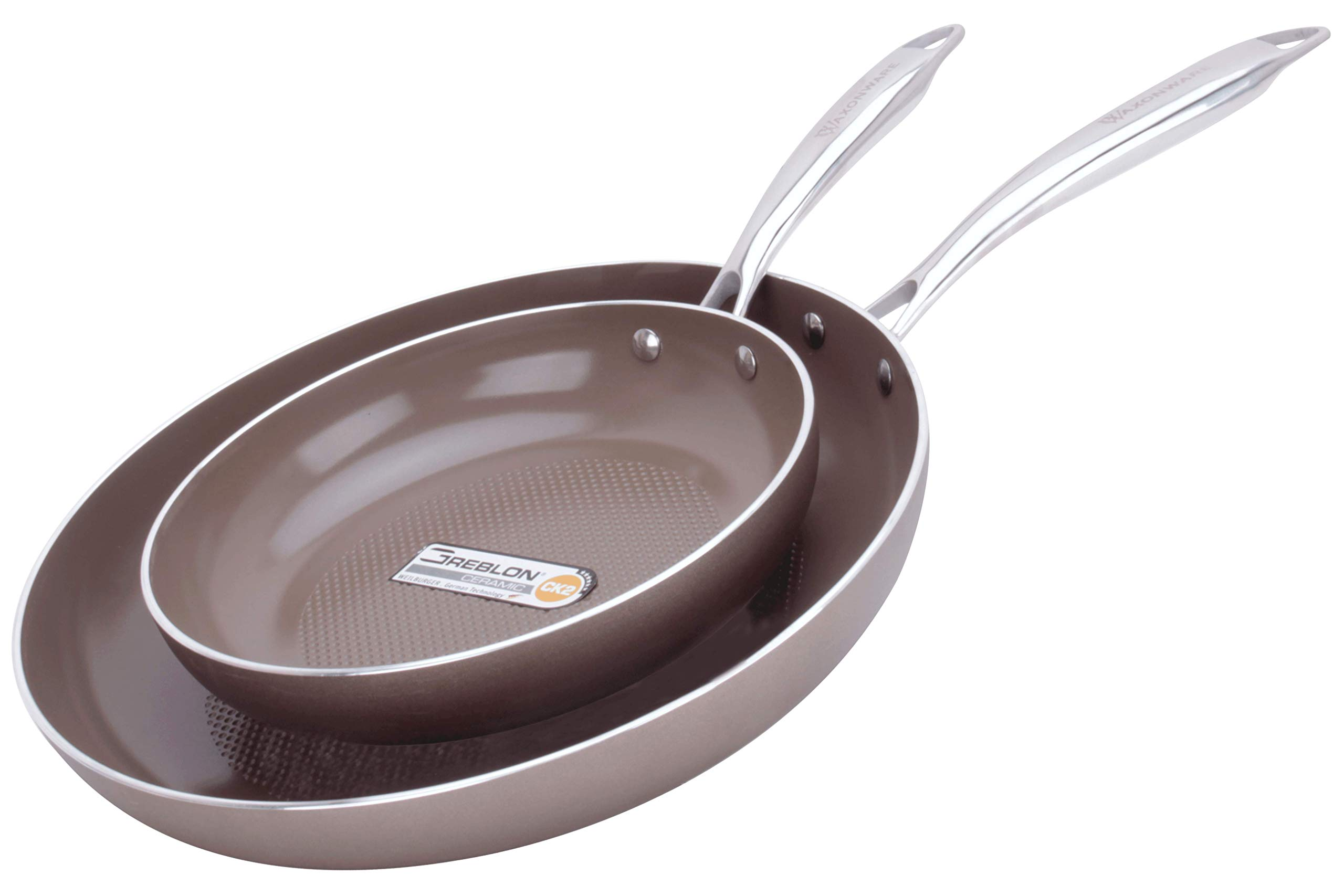 WaxonWare 8.5 & 12 Inch Ceramic Nonstick Frying Pans, Non Toxic PTFE APEO PFOA Free Nonstick Skillets, Induction Compatible, Dishwasher & Oven Safe Omelette Fry Pan With German Coating (HIVE Series) by WaxonWare