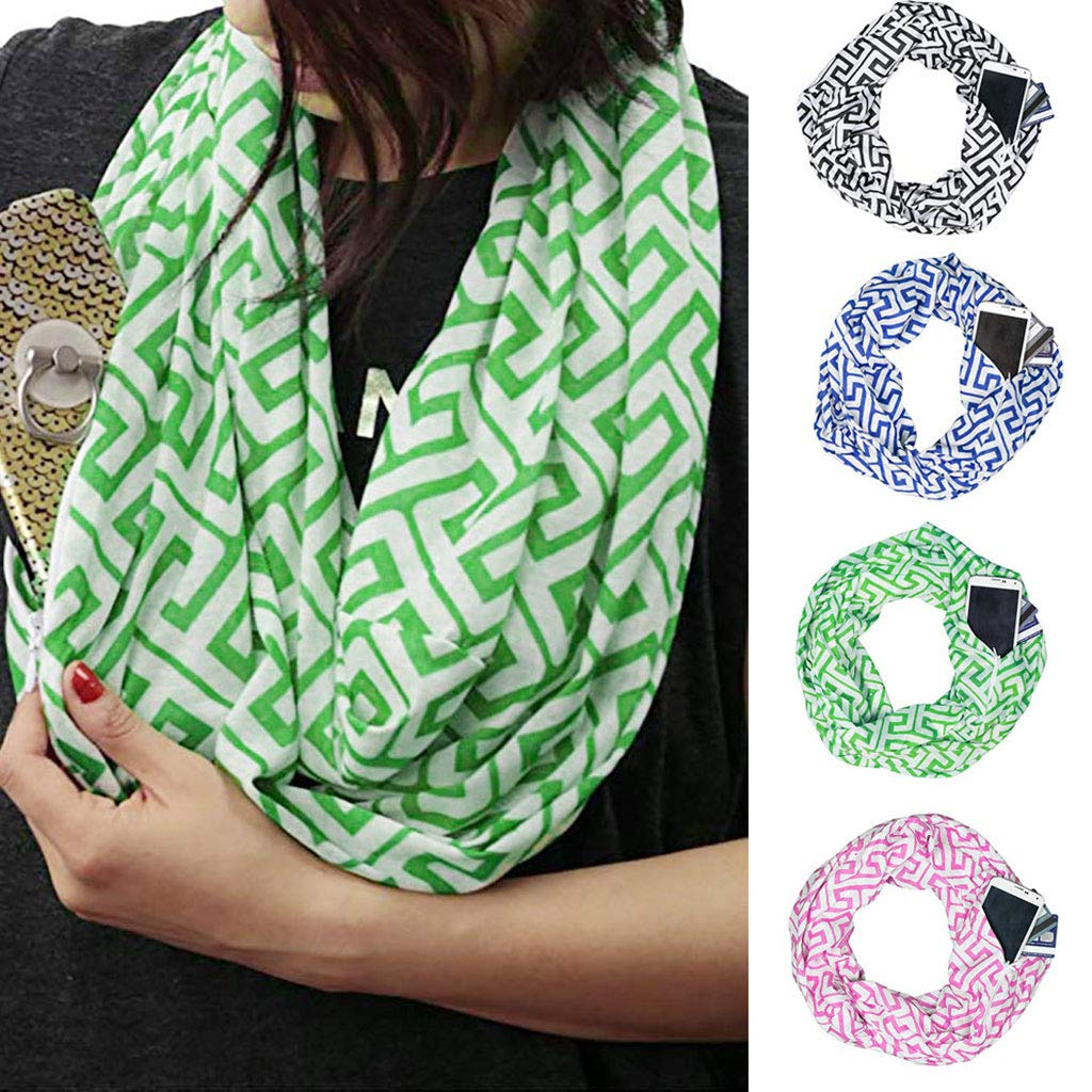 Yeahii Women Infinity Loop Pleated Scarf With Hidden Zipper Pocket Geometric Patterns Contrast Color Winter Ring Blanket Wrap