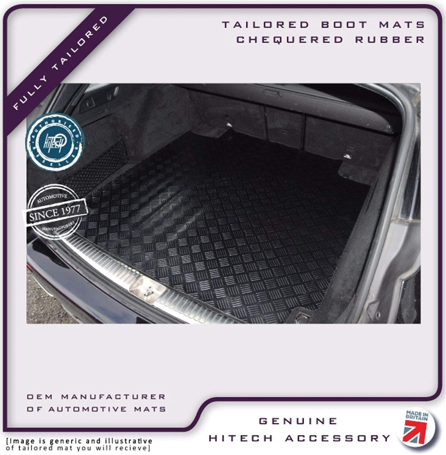 Ford Focus C-Max 2003-2010 Hitech Chequered Rubber Dog//Golf//Pets Car Boot Liner Mat to fit
