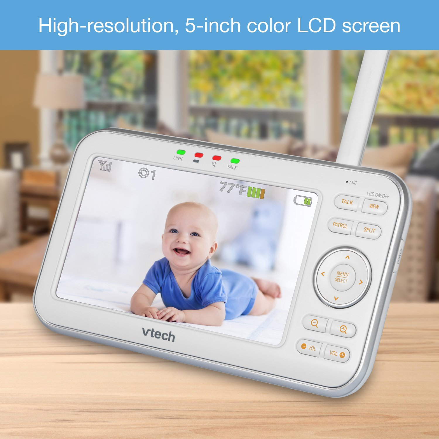 VTech VM5271-2 Video Baby Monitor with 5-inch Screen, Motorized Lens with 6x Optical Zoom, Soothing Sounds & Lullabies, Temperature Sensor & 1,000 feet of Range with 2 Cameras by VTech (Image #3)