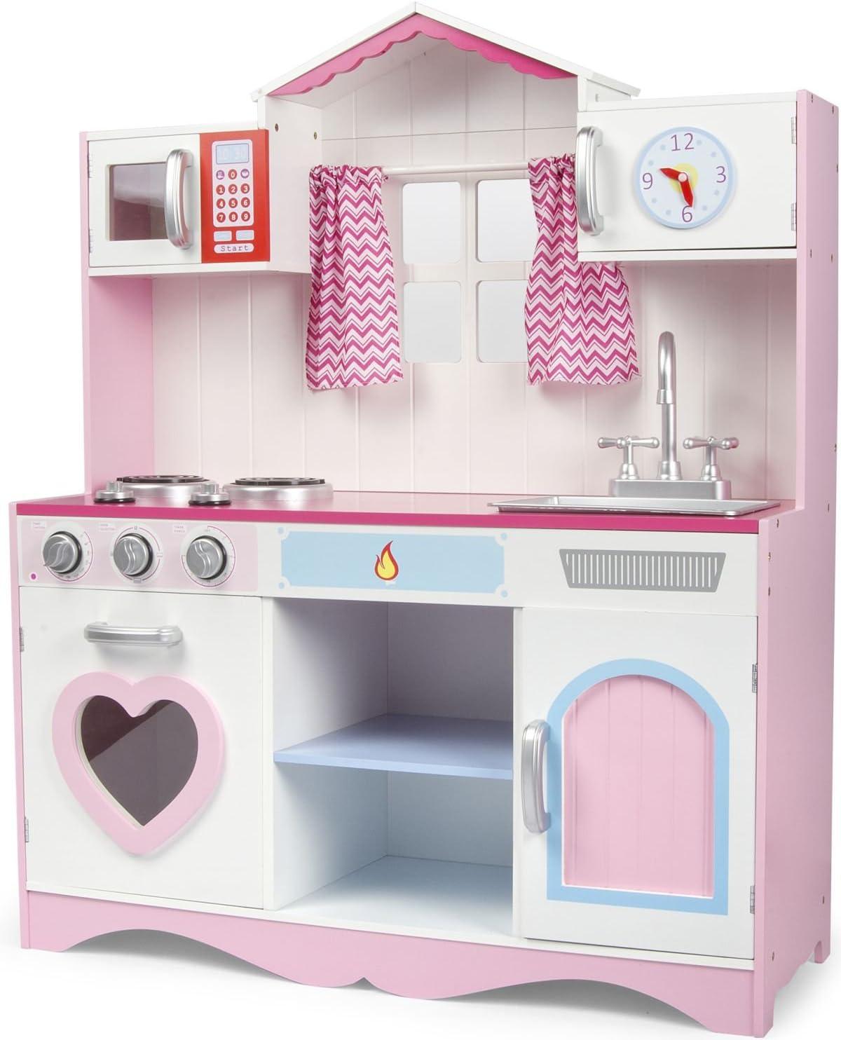 Leomark Cocina PINK PLAY Madera Infantil de Juguete - COLOR ROSA - Accesorios, Para Niños, Efectos de luz y sonido, Dim: 82x30x101(altura) cm