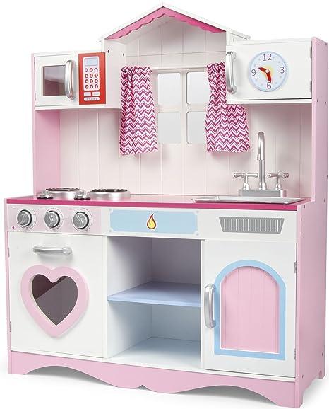 cucina rosa giocattolo per bambini gioco in legno giocare dimitazione accessori per cucina pink