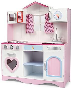 Leomark Pink Play Große HolzKÜCHE Fur Kinder 82x30x101 KinderKÜCHE  SpielKÜCHE Zubehör Kitchen KinderspielKÜCHE Spielzeug KÜCHE Aus Holz