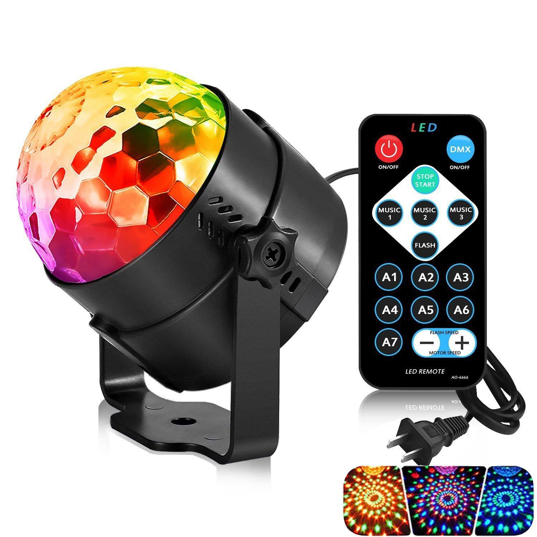 Huamai Party Ball Light RGB DJ disco Light with Remote Controller and USB Cable for Car Room Dance Night Bar Club Pub Parties Birthday Christmas Wedding DJ Lighting