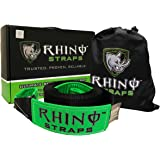 "RHINO USA Recovery Tow Strap 3"" x 30ft - Lab Tested 31,518lb Break Strength - Heavy Duty Draw String bag Included - Triple Reinforced Loop End to Ensure Peace of Mind - Emergency Off Road Towing Rope"