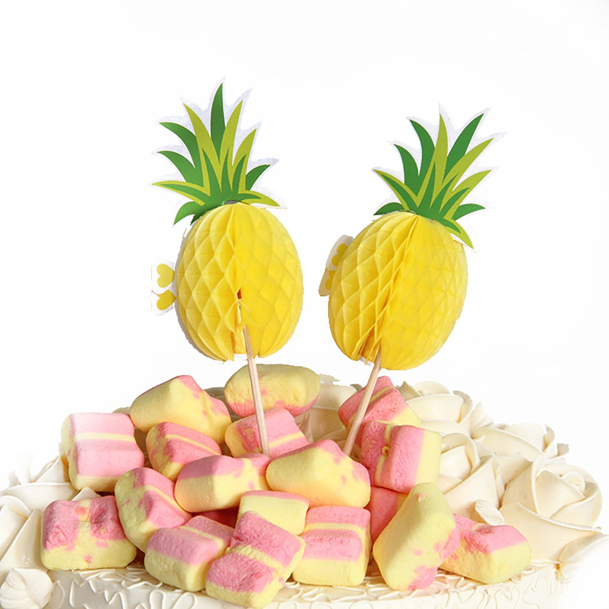 50PCS Hawaiian Cocktail Drink Picks Pineapple Cupcakes Party Supplies Tropical Paper Cocktail Parasol Picks Cupcake Toppers Picks Decoration Food Picks