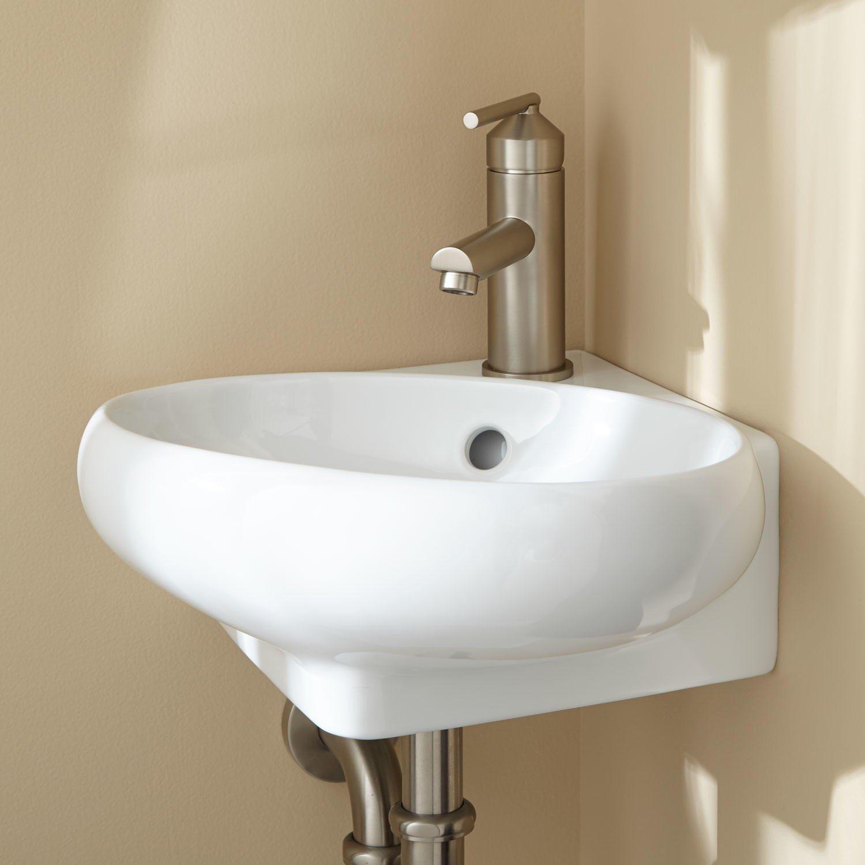Drop Bathrooms MODERN COMPACT SMALL CLOAKROOM OVAL CORNER BASIN SINK WALL HUNG