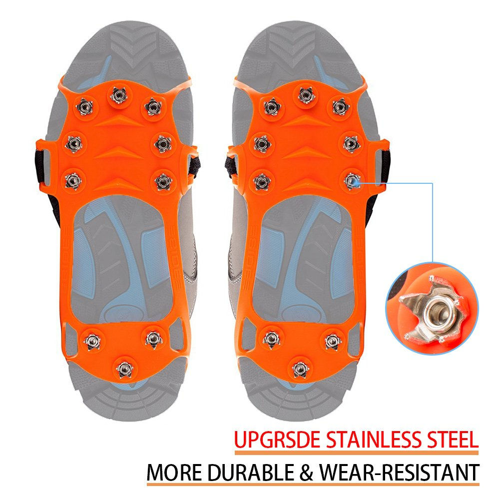 Sunzel Traction Cleats, Upgraded Version of 10 teeth stainless steel Spikes Durable Silicone, Portable Walk Spikes Cramponsr for Walking, Jogging, Hiking, Mountaineering Ice Snow Grips