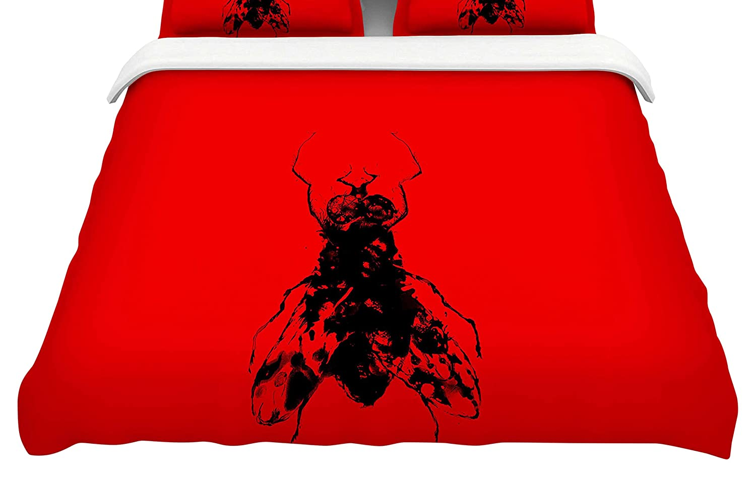 88 x 88, Kess InHouse BarmalisiRTB The Fly Black White Featherweight Queen Duvet Cover