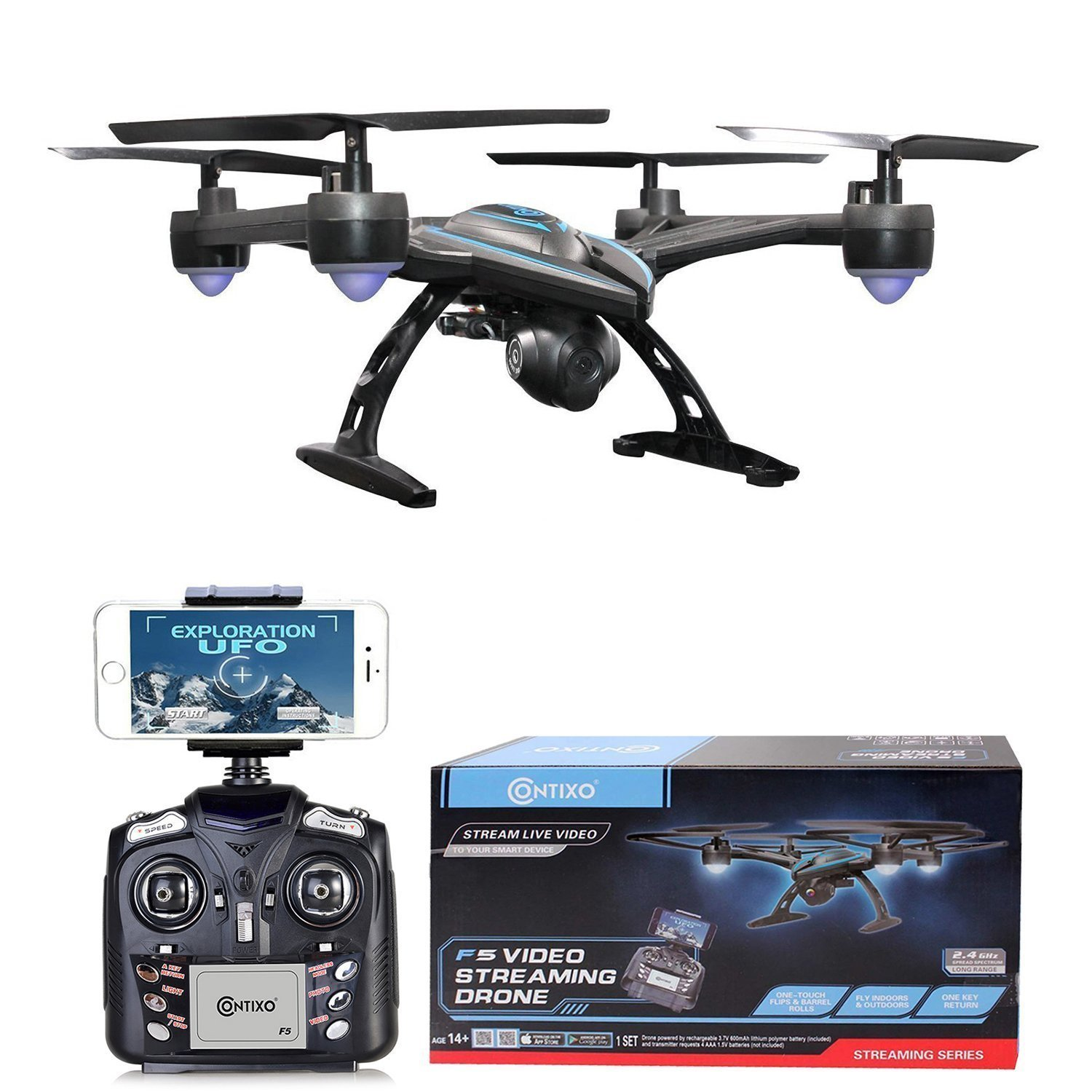 Contixo F5 Quadcopter Drone 720P Wi-Fi Live FPV HD Video Camera, Black Contixo Inc.