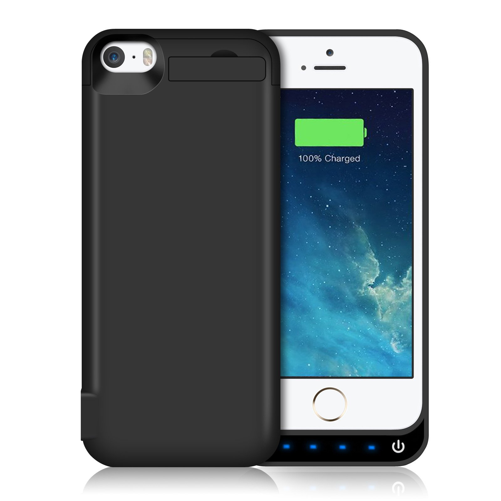 iPhone 5S/5SE/5C/5 Battery Case HETP Backup Charger Case Protection Cover 4600mAh Extended Battery Built in USB Power Bank & Pop-out Kickstand Charging Case(Up to 2.65X Extra Battery Life) Black