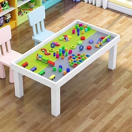 OUY Mesa Infantil Infantil Puzzle Tabla de construcción sólida de los niños de Madera Mesa de Arena Espacio Multifuncional Juguete Juego de partículas Tabla Mesa de Picnic para jardín: Amazon.es: Hogar