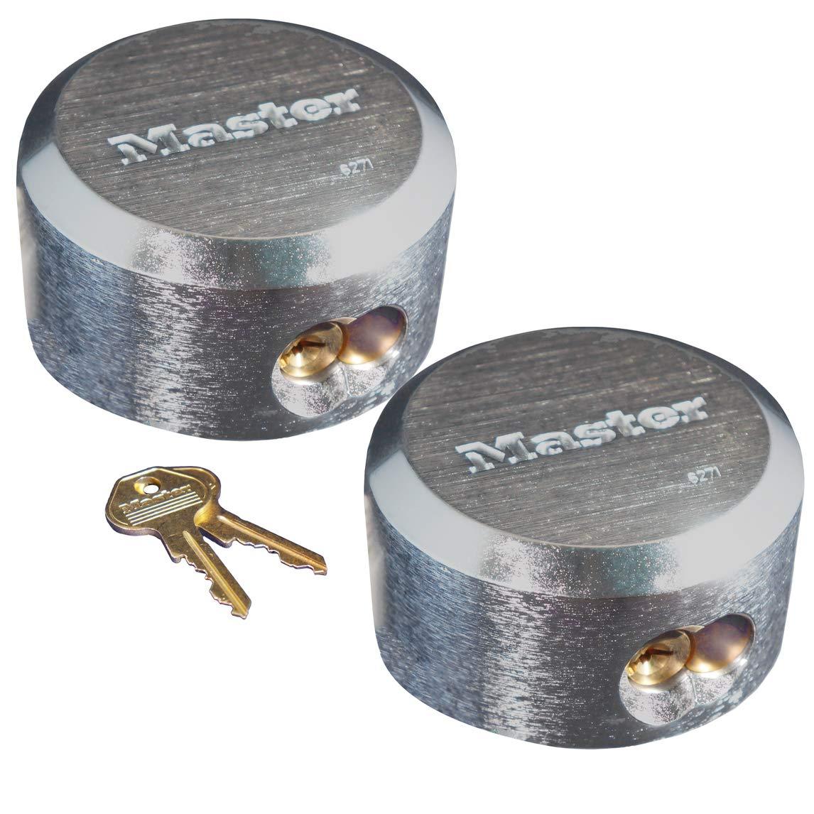 Master Lock 6271KA 2 Pack 2-7/8in. ProSeries Reinforced Hidden Shackle Rekeyable Pin Tumbler Keyed Alike Padlock, Chrome by Master Lock (Image #1)