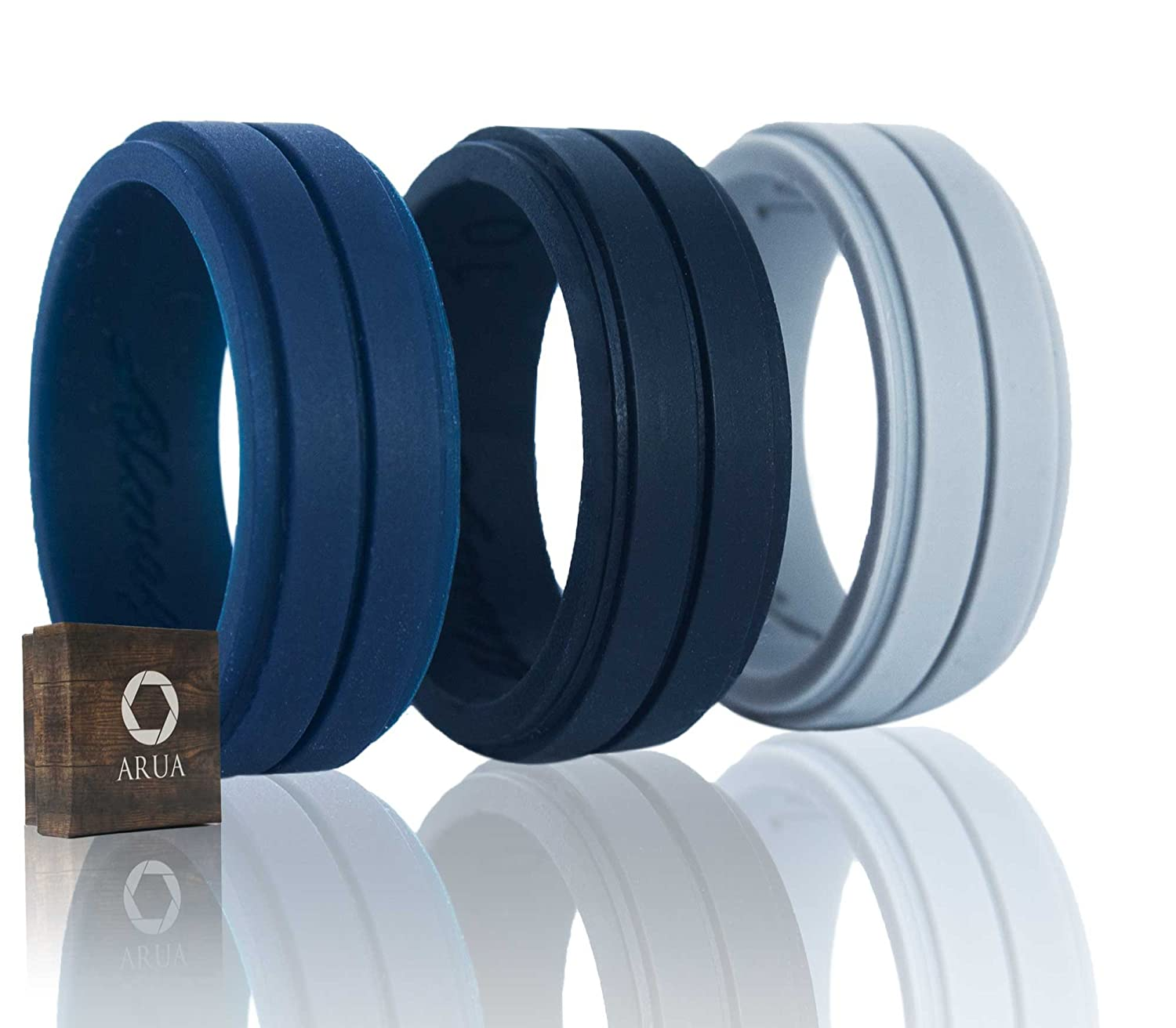 Amazon : Silicone Weddings Rings For Men By Arua 3packfortable  And Durable Rubber Wedding Bands For Sports, Gym, Outdoors 2mm Thick