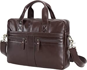 Polare Soft Real Italian Leather Laptop Briefcase Messenger Bag for Men Fits 14 Inch Laptop