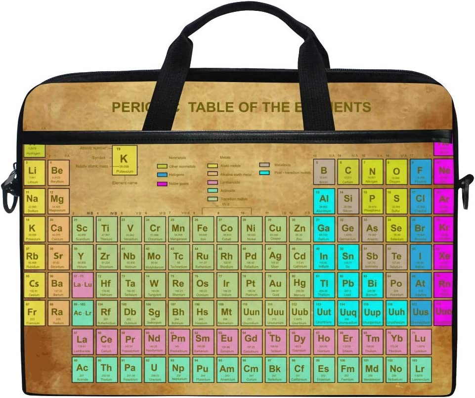 XMCL Periodic Table of The Element Chemistry Laptop Case Shoulder Bag Computer Notebook Briefcase Messenger Bag with Adjustable Shoulder Strap Fits 14-15.4 inch