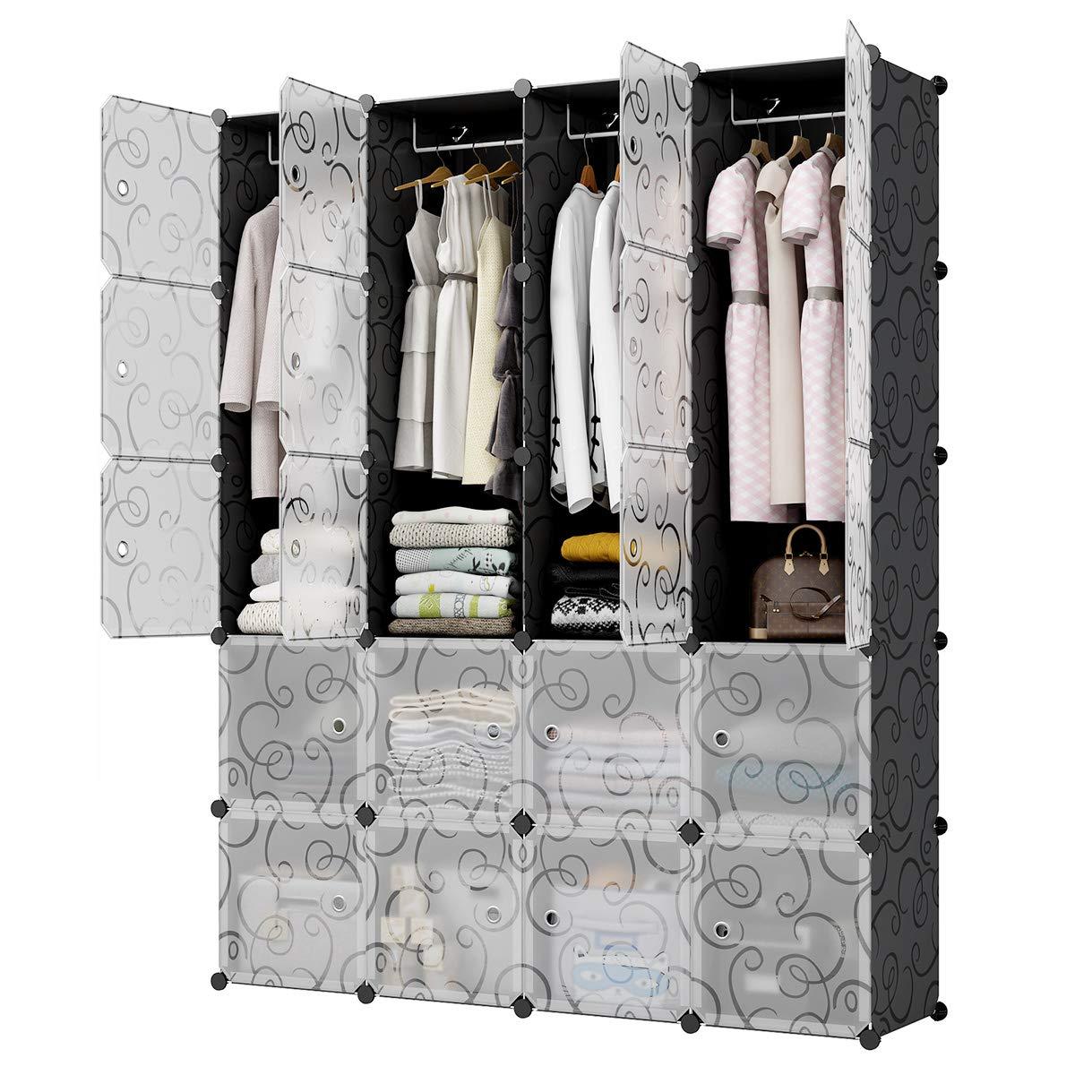 KOUSI Portable Closet Wardrobe Closet Room Closet with Doors Wardrobe with Storage Wardrobes for Bedrooms Portable Closet Wardrobe Bedroom Armoire, Black, 8 Cubes + 4 Hanger