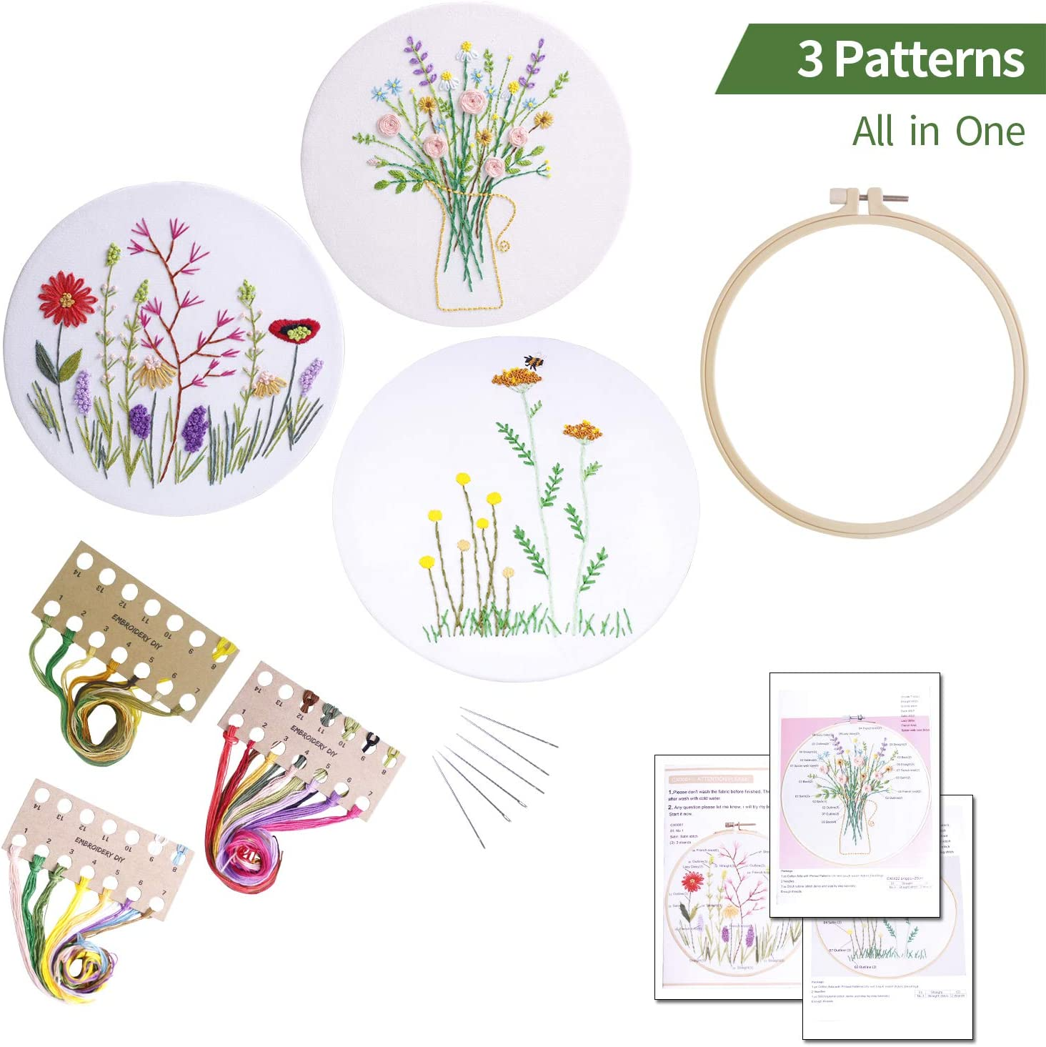 Hoop 3sets Stamped Embroidery Kit with Pattern Color Floss,Needle Kit1 DIY Stitch Set for Starter Art Craft Handy Sewing Include Printed Cloth