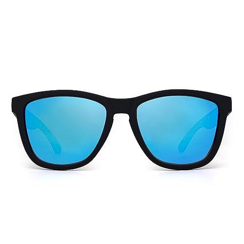 5d1f5fbd0fe JIM HALO Retro Polarized Sunglasses for Women Men Vintage Square Mirror  Glasses (Matte Black