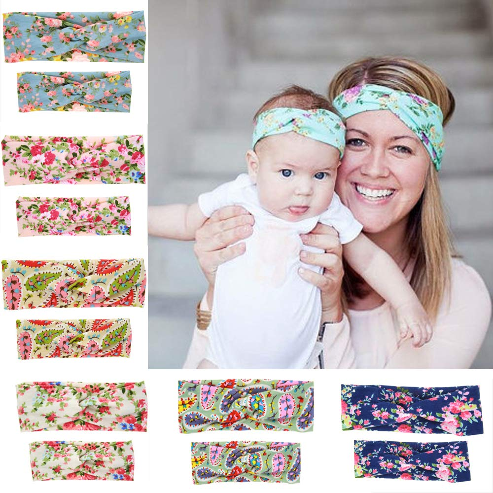BEEGOO 6 Pack Mom and Baby Headbands Turban Knotted, Girl's Hairbands for Newborn,Toddler & Childrens
