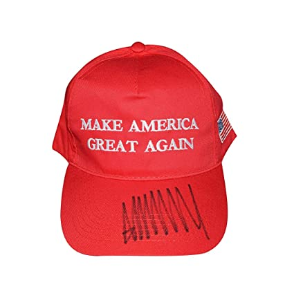 23c69ec486b5c AUTOGRAPHED Donald Trump MAKE AMERICA GREAT AGAIN (45th President of the United  States of America) Red MAGA Hat Cap with PSA COA at Amazon s Sports ...