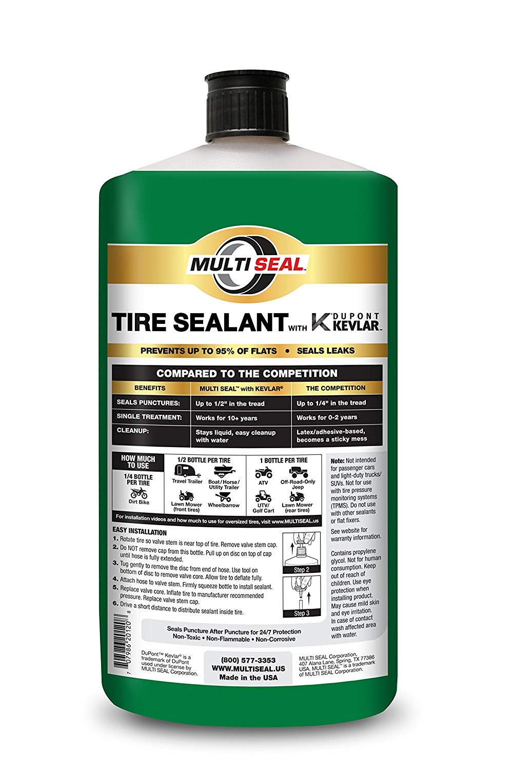 MULTI SEAL 20128 Tire Sealant with Kevlar (Outdoor Power Equipment Formula), Great for Lawn Mowers, Small Tractors, Wheelbarrows, Wood Chippers, Snow Blowers and more, 8-Pack (256 oz.) by MULTI SEAL (Image #1)
