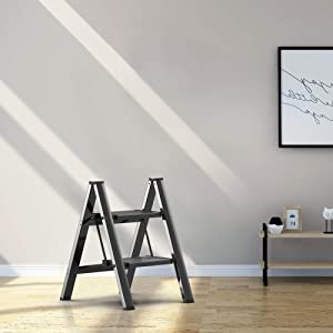 2 Steps Stool Ladder Black Aluminum Lightweight Folding with Anti-Slip and Wide Pedal for Home and Kitchen Space Saving