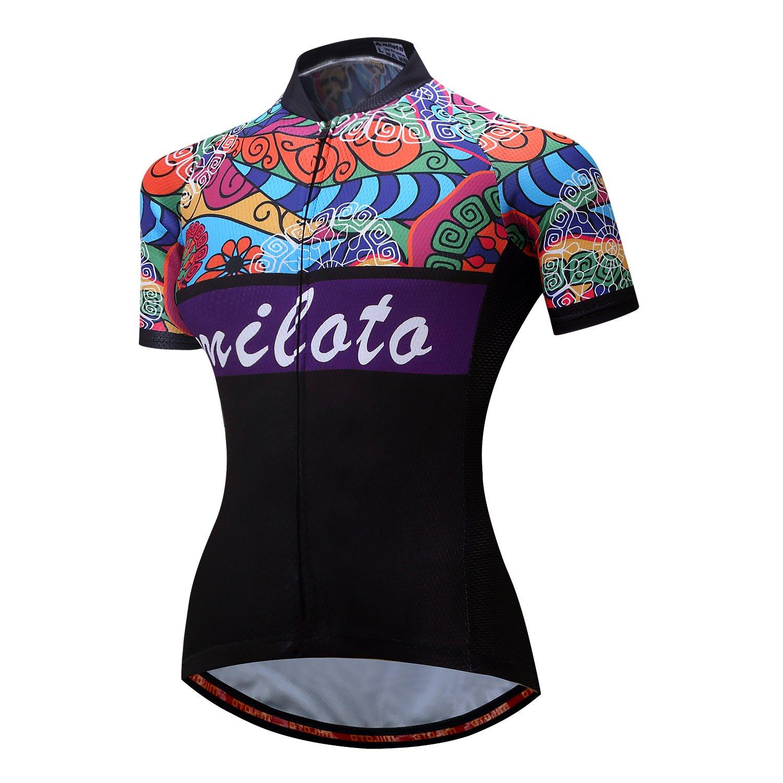 Amazon.com  MILOTO Women s Cycling Jersey Short Sleeve Reflective Biking  Tops  Clothing d93f47ce3