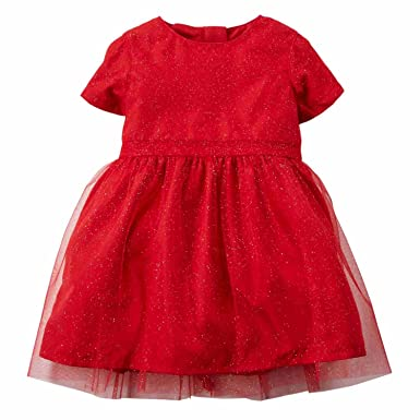 a0d58b237 Carter's Infant Toddler Girl Red Glitter Holiday Party Dress Special  Occasion 3m