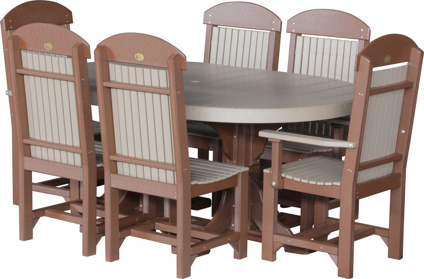 LuxCraft Recycled Plastic 4x6' Oval Table Set #2 with 2 Captain Chairs and 4 Regular Chairs - Color: Weatherwood & Chestnut Brown - kitchen-dining-room-furniture, kitchen-dining-room, dining-sets - 71hL%2BrY%2BgNL -