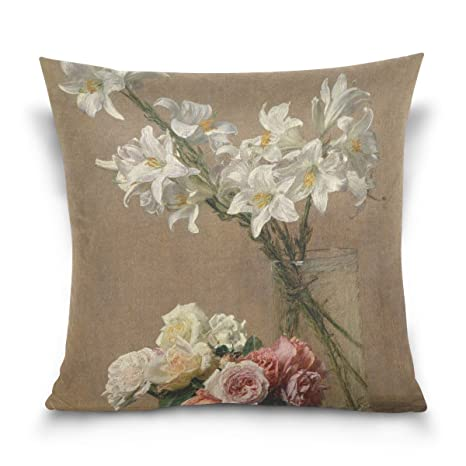 Amazoncom Alaza Art Vintage Retro Floral Flower Oil Painting Print - Decorative-floral-print-chairs-from-floral-art
