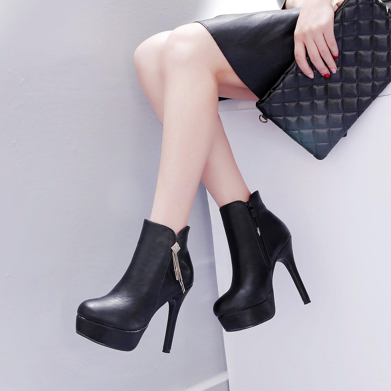 ZHZNVX Die neue Winter Frauen Stiefel plus samt Dicken hochhackigen Stiefeln wasserdichte ist fein mit bloßen Stiefel elegant und su Stiefel