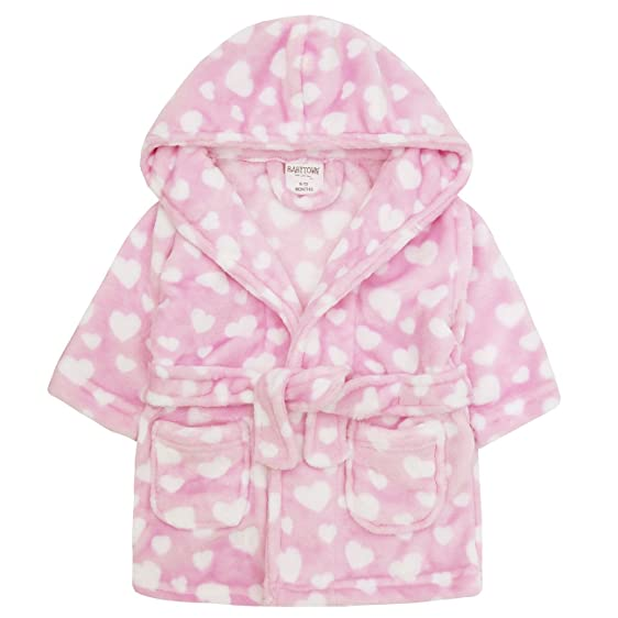 Amazon.com: Babytown Baby Girls Heart Print Robe Nightwear Hooded ...