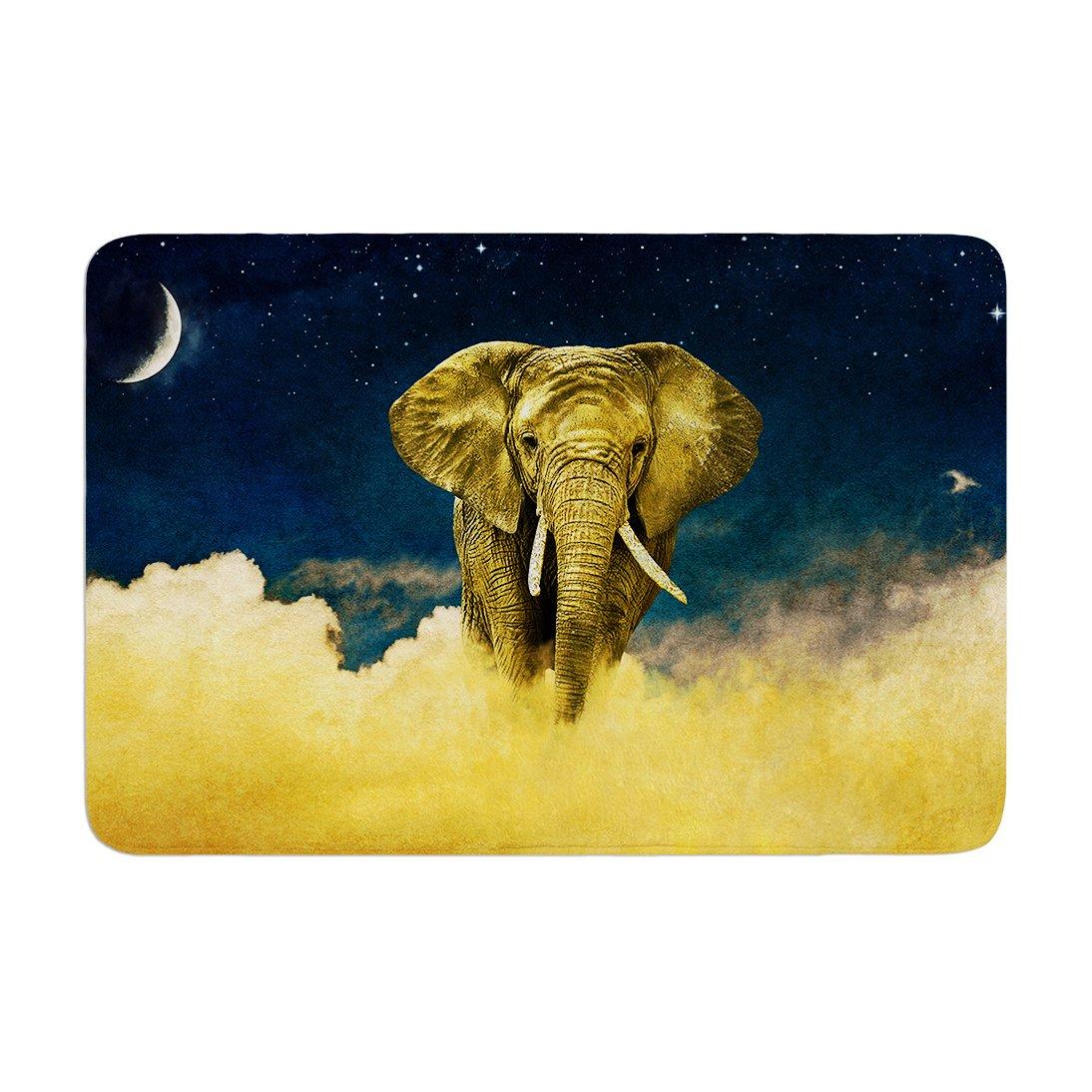 17 by 24 Kess InHouse Nick Atkinson Celestial Elephant Black Blue Memory Foam/Bath Mat