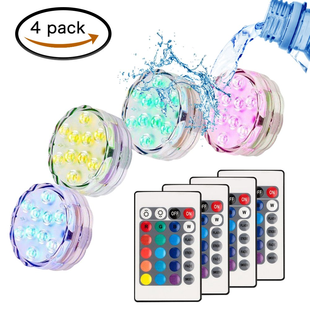 MG MULGORE Submersible LED Light(4pcs) ,RGB Multi Color Waterproof Battery Remote Control Powered Lights Controller for Hot Tub Fountain Vase Swimming Pool Decoration Pond Garden Party Weeding Christmas sub-L