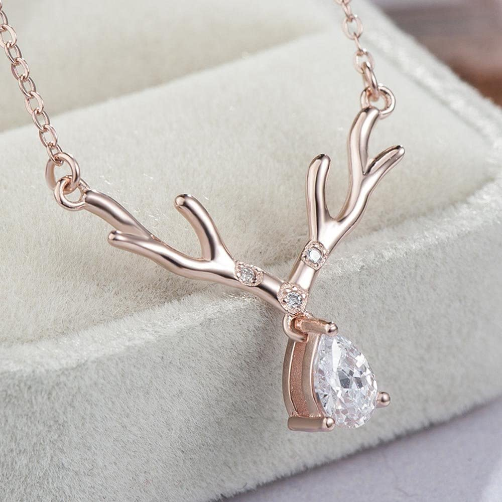 Everrich Antler Statement Pendant Necklace 925 Rose Gold//Silver Crystal Charms Necklace Jewelry for Women