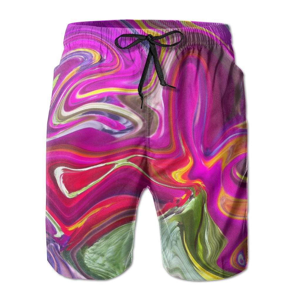 Bing4Bing Psychedelic Color Distortion Summer Fast Dry Beach Mens Board Shorts