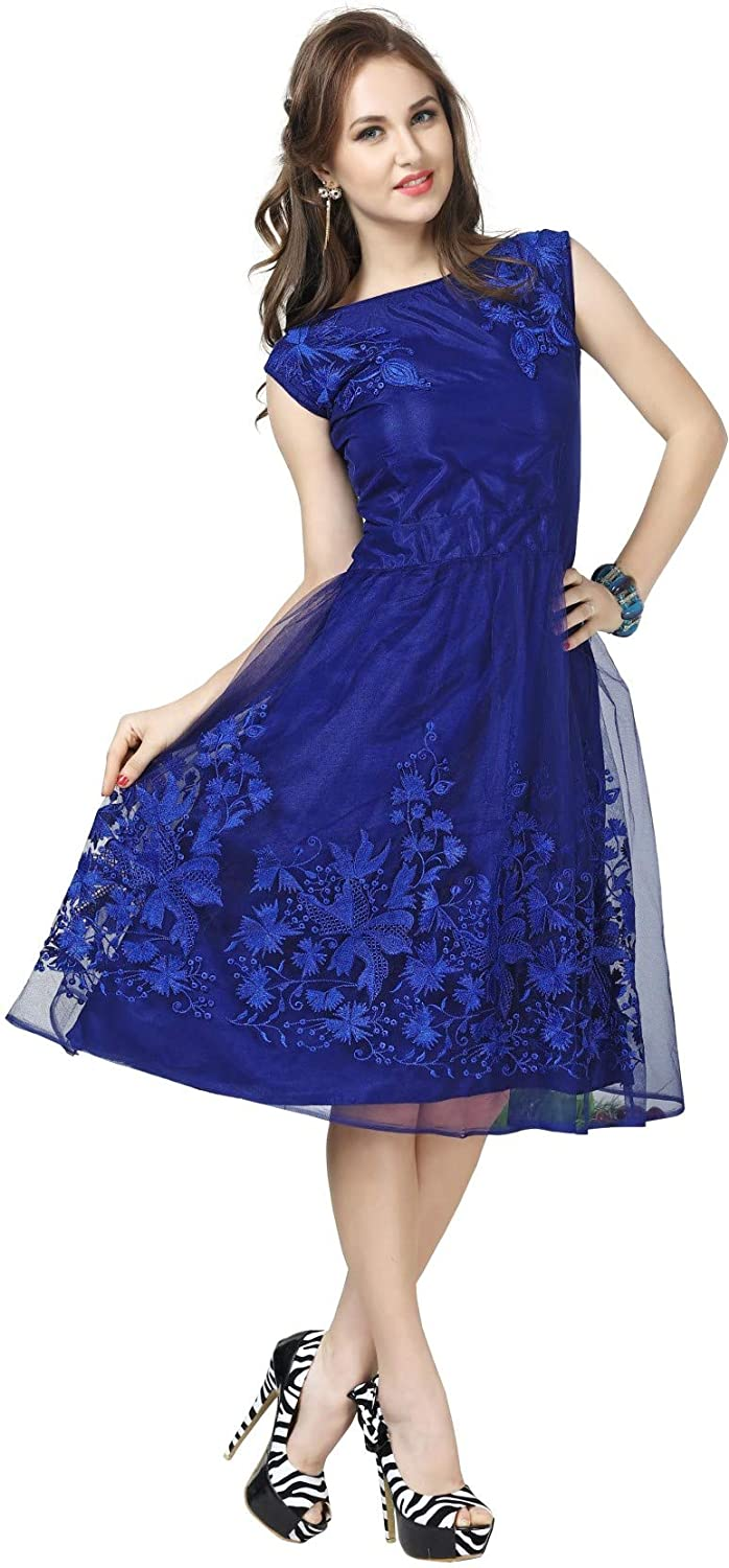 Buy Adad Fab Women S Net Knee Length One Piece Skater Dress Blue Small At Amazon In