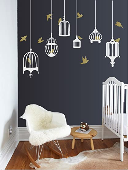 6 birdcages and 12 birds vinyl wall decals diy removable room decor sticker art for home