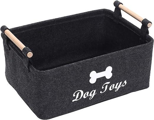 Geyecete Dog Toys Storage Bins-with Wooden Handle,Soft Felt Storage Bin Organizer Basket Storage Basket//Bin Kids Toy Chest Storage Trunk Dog-Dark Grey