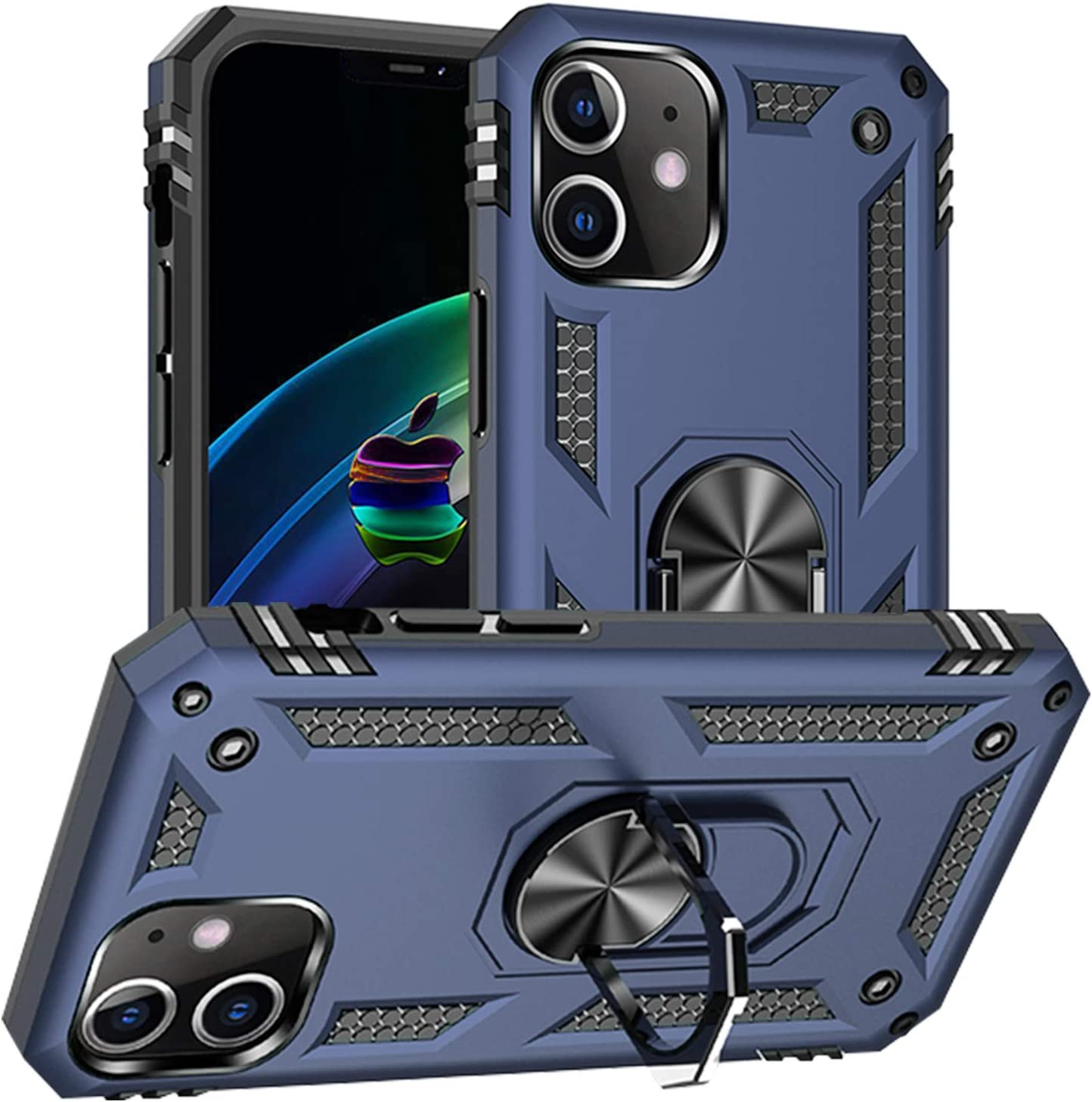 Pegoo Custodia iPhone 12 Mini,Silicone Cover Armatura Antiurto Copertura Cassa Custodia per Apple iPhone 12 Mini (5.4) (Blu scuro)