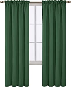 Deconovo Pastoral Blackout Curtains Rod Pocket Window Decoration Curtains for Bedroom and Living Room 42Wx84L Inch Dark Forest 2 Panels