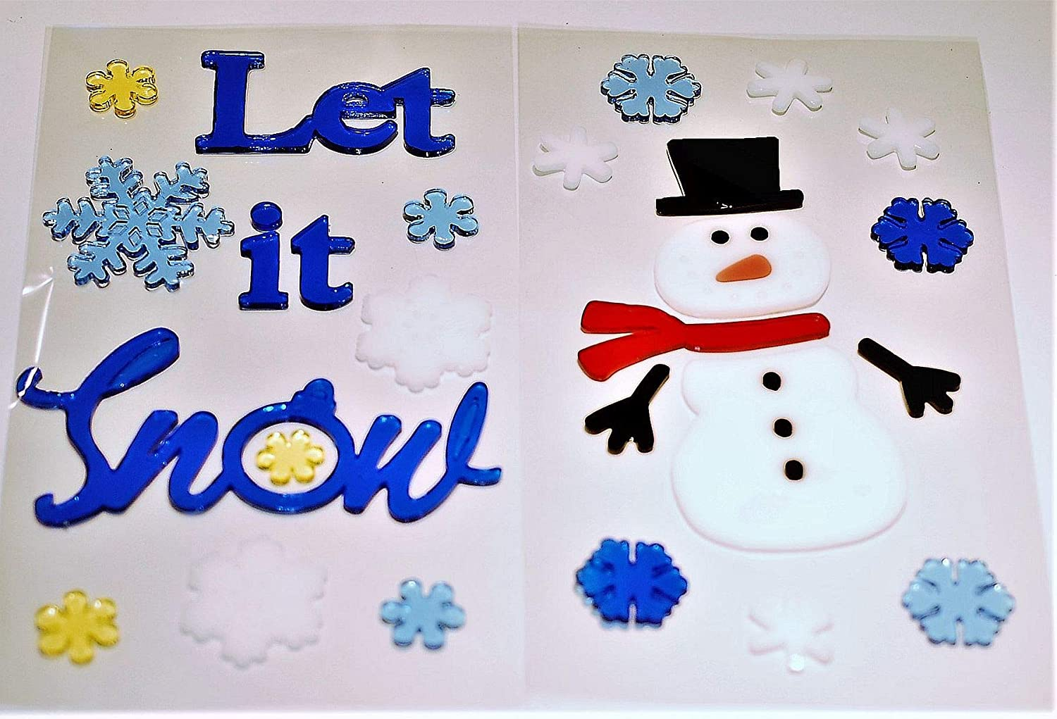 Makers Holiday Gel Christmas Window Clings Let It Snow, Snowflakes and Snowman.