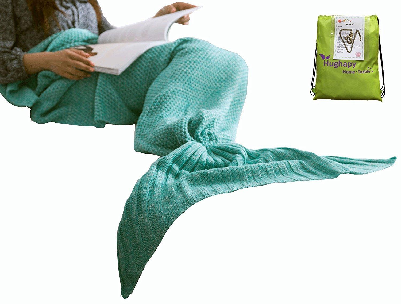 Hughapy knitted Mermaid Tail Blanket for Adults Teens,Kids Crochet Snuggle Mermaid,All Seasons Seatail Sleeping Blanket (71