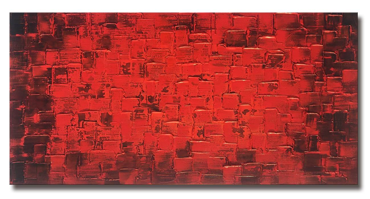 Large Abstract Dark Red Square Wall Art Hand Painted Textured Oil Painting on Canvas Ready To Hang 60x30inch