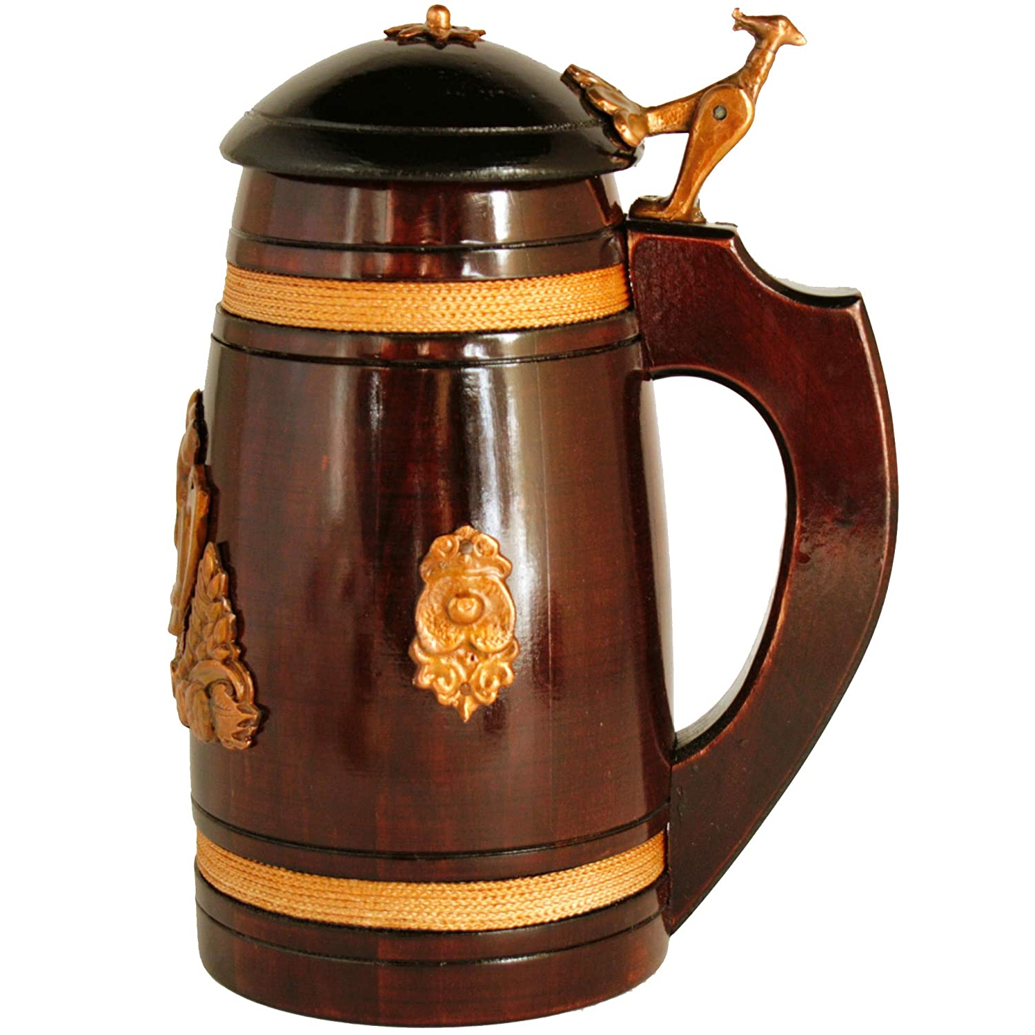 Medieval German style Mini Beer Stein with Lid 14 oz. Renaissance Oktoberfest Wooden Mug for Men. Old Times Small Coffee Drinking Cup. Authentic Wood Tankard with Handle. Fathers Day, Birthday Gift BarvA
