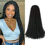 "7Pcs Passion Twist Hair 18 Inch Long Bohemian For Goddness Twist Crochet Braiding Hair Synthetic Fiber Water Wave Crochet Hair Extension (18""7pcs, 1B)"