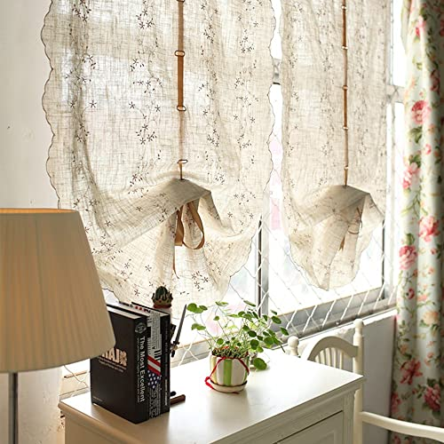 Cotton linen Embroidered Tie Up Balloon Curtain Drapes Rod Pocket Window Voile Tulle Sheer for Bedroom Living Room Cloth Curtain, Each panel size 24 W x 98 L